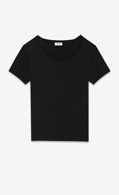 SAINT LAURENT T-Shirt and Jersey D Ripped Short Sleeve T-Shirt in Black Cotton Jersey a_V4
