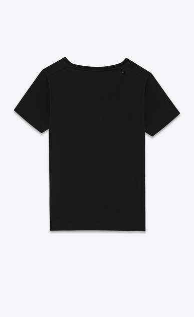 SAINT LAURENT T-Shirt and Jersey D Ripped Short Sleeve T-Shirt in Black Cotton Jersey b_V4