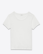 SAINT LAURENT T-Shirt and Jersey D Ripped Short Sleeve T-Shirt in Ivory Cotton Jersey f