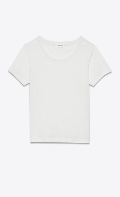 SAINT LAURENT T-Shirt and Jersey D Ripped Short Sleeve T-Shirt in Ivory Cotton Jersey a_V4