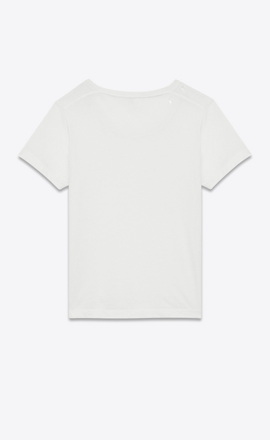 SAINT LAURENT T-Shirt and Jersey D Ripped Short Sleeve T-Shirt in Ivory Cotton Jersey b_V4