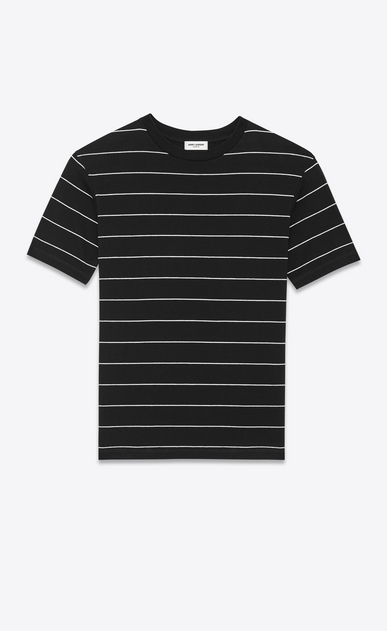 SAINT LAURENT T-Shirt and Jersey U Short Sleeve T-Shirt in Black and Ivory Striped Cotton Jersey a_V4