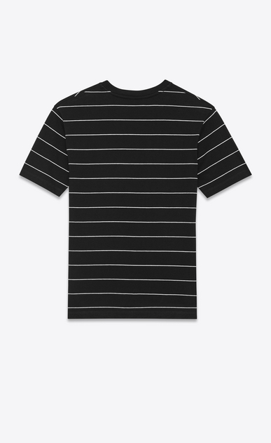 SAINT LAURENT T-Shirt and Jersey U Short Sleeve T-Shirt in Black and Ivory Striped Cotton Jersey b_V4