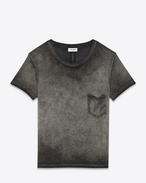 SAINT LAURENT T-Shirt and Jersey U CLASSIC CREWNECK T-SHIRT IN grey Garment Dyed Cotton Jersey f
