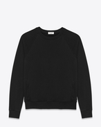 SAINT LAURENT Sportswear Tops U Classic Front Pocket Crewneck Sweatshirt in Black French Terrycloth f