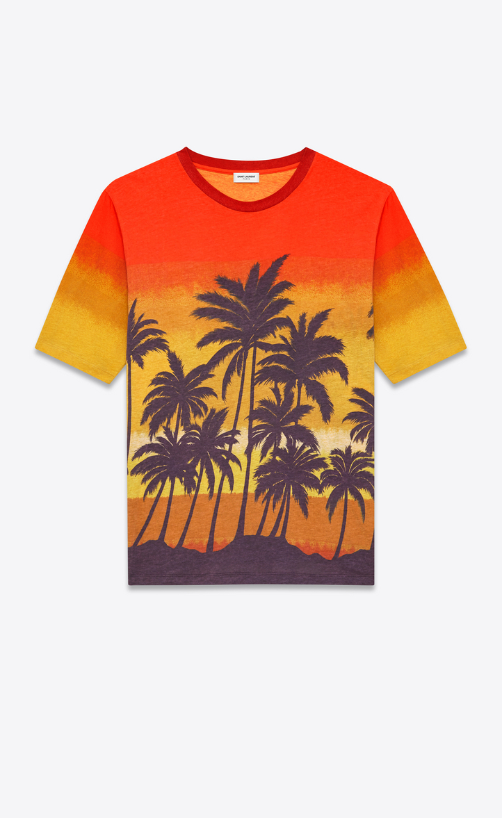 Saint Laurent palm tree sunset print T-shirt Cheap Sale For Nice Best Place To Buy 00jykP8VbH