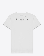 SAINT LAURENT T-Shirt and Jersey U Short Sleeve T-Shirt in Ivory and Black Star Printed Cotton Jersey f