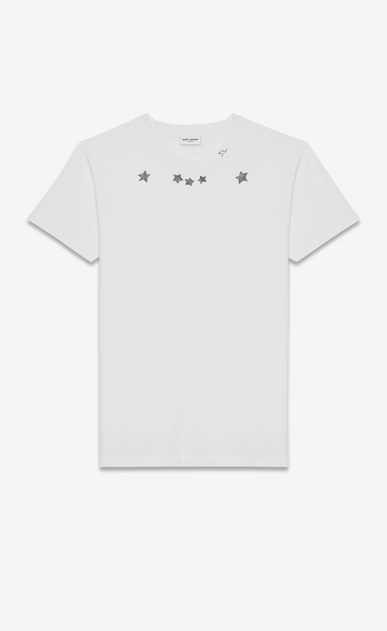 SAINT LAURENT T-Shirt and Jersey U Short Sleeve T-Shirt in Ivory and Black Star Printed Cotton Jersey a_V4