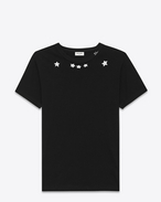 SAINT LAURENT T-Shirt and Jersey U Short Sleeve T-Shirt in Black and Ivory Star Printed Cotton Jersey f