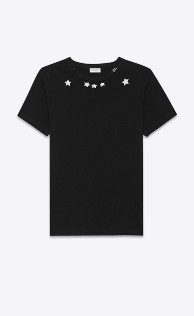 SAINT LAURENT T-Shirt and Jersey U Short Sleeve T-Shirt in Black and Ivory Star Printed Cotton Jersey a_V4