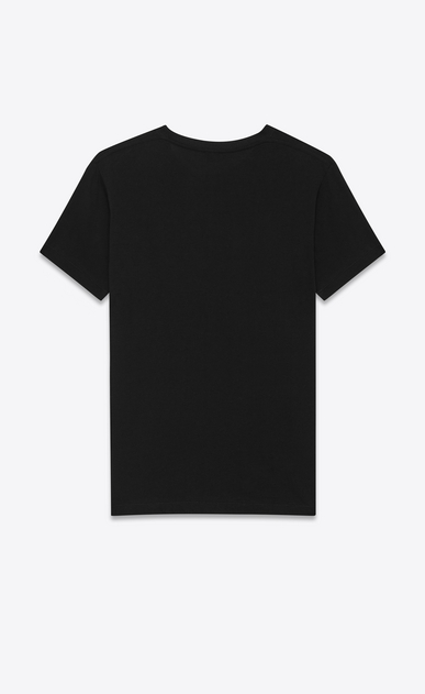 SAINT LAURENT T-Shirt and Jersey U Short Sleeve T-Shirt in Black and Ivory Star Printed Cotton Jersey b_V4