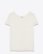 SAINT LAURENT Tops and Blouses D Classic Short Sleeve Pocket T-Shirt in Off White Silk f
