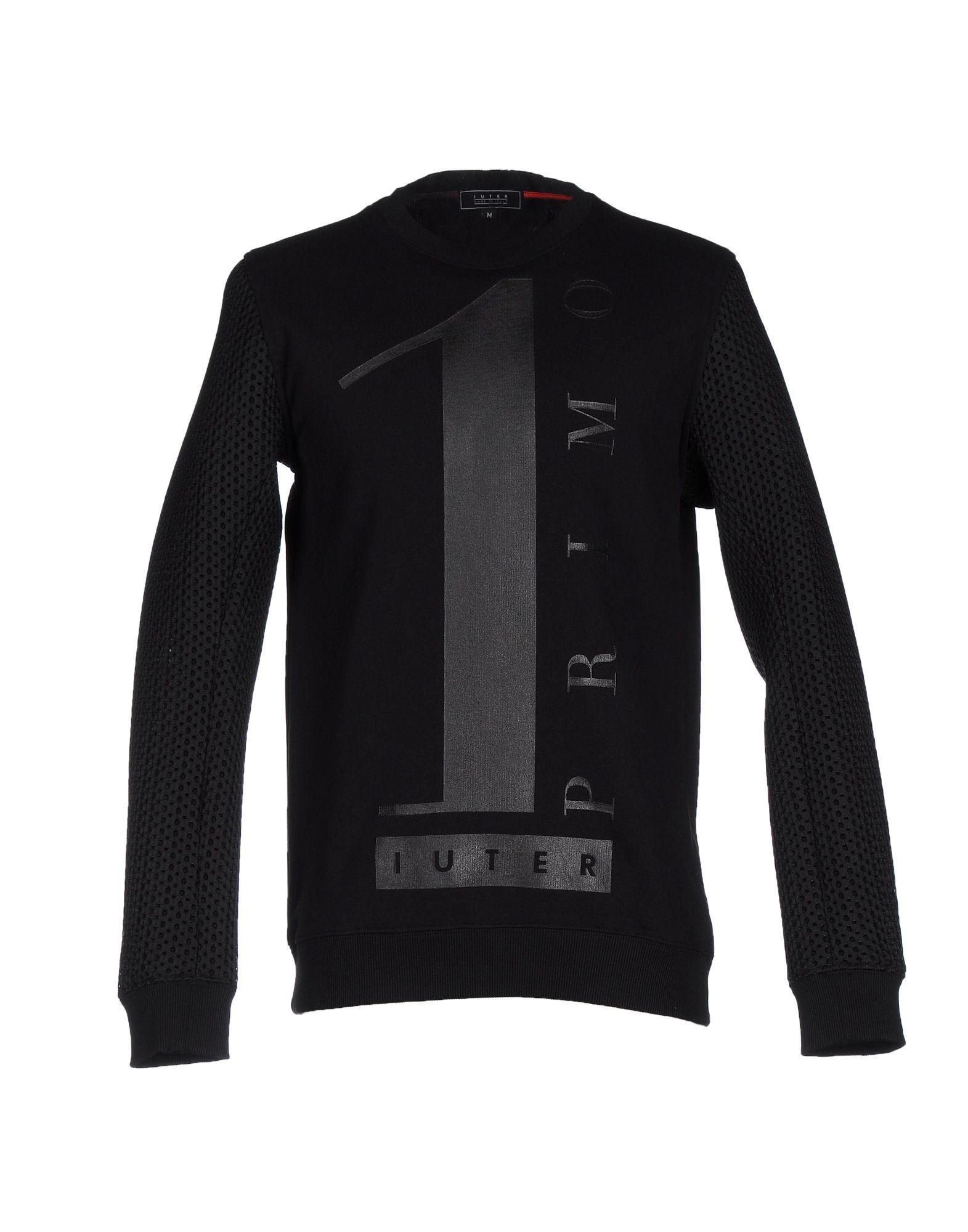 《送料無料》IUTER メンズ スウェットシャツ ブラック XS コットン 100% / ポリエステル