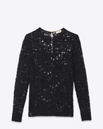 SAINT LAURENT Top e Bluse D Top a maniche lunghe nero in cotone e pizzo in nylon f