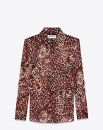 SAINT LAURENT Top e Bluse D camicia con collo paris color conchiglia, rossa e nera in georgette di seta con stampa leopard f