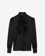 SAINT LAURENT Top e Bluse D blusa lavallière nera in seta f