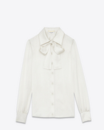 SAINT LAURENT Tops and Blouses D 70's Lavaliere Blouse in Ivory Silk Satin f