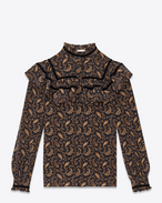 SAINT LAURENT Tops and Blouses D 70's Folk Blouse in Black and Gold Paisley Printed Silk Crêpe f