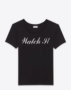 SAINT LAURENT T-Shirts et Jersey D t-shirt « watch it » special projects en jersey de coton dégradé noir et gris f