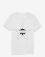 SAINT LAURENT T-Shirt and Jersey D PALLADIUM T-shirt in Ivory and Black Cotton Jersey f