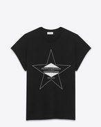 SAINT LAURENT T-Shirt and Jersey D palladium loose cap sleeve t-shirt in black and ivory cotton jersey f