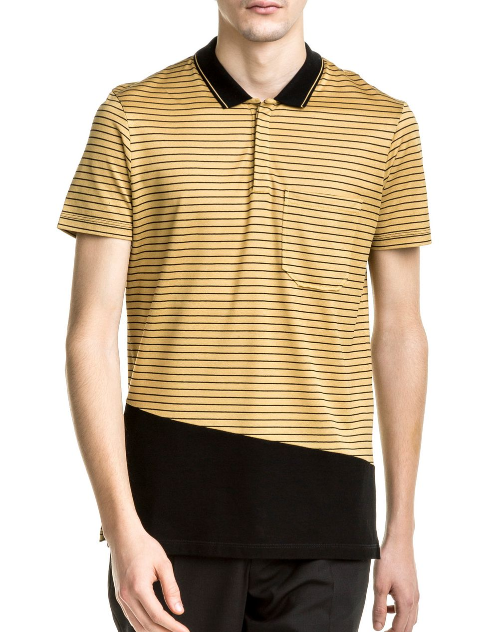 BLACK & YELLOW SLIM FIT POLO SHIRT