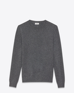 SAINT LAURENT Cashmere Tops U grunge crewneck sweater in medium heather grey cashmere f