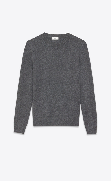 SAINT LAURENT Cashmere Tops U grunge crewneck sweater in medium heather grey cashmere a_V4