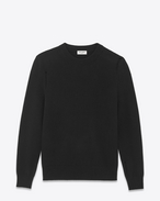 SAINT LAURENT Knitwear Tops U grunge crewneck sweater in black wool and cashmere f