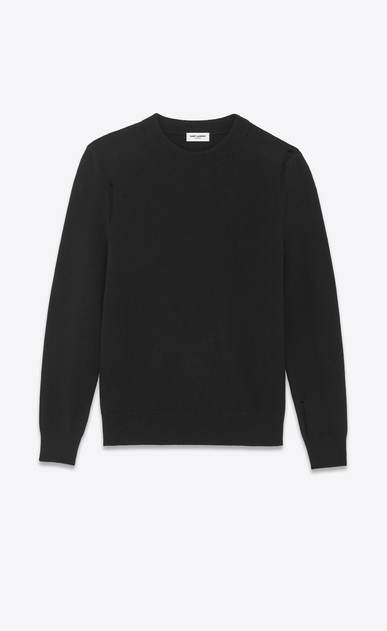SAINT LAURENT Knitwear Tops U grunge crewneck sweater in black wool and cashmere a_V4
