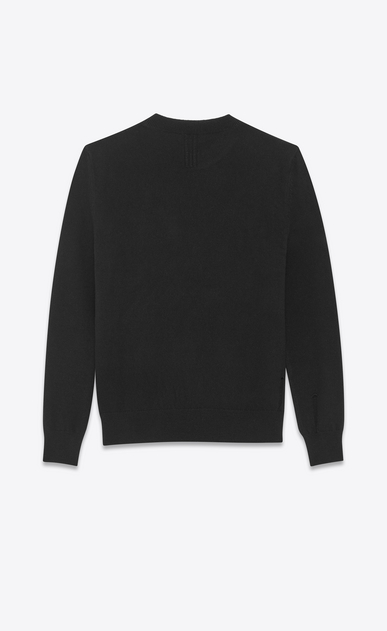 SAINT LAURENT Knitwear Tops U grunge crewneck sweater in black wool and cashmere b_V4