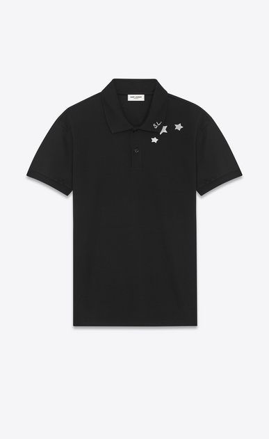 SAINT LAURENT Polos U Classic Polo shirt in Black and White Star Printed Piqué Cotton a_V4