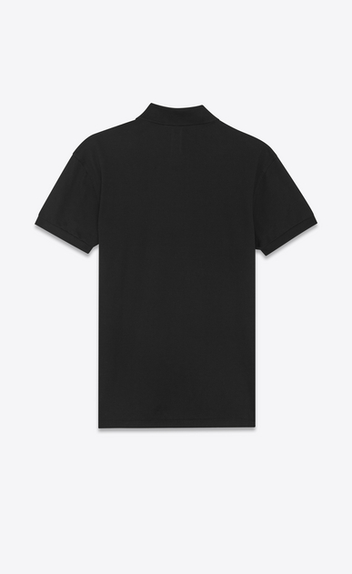 SAINT LAURENT Polos U Classic Polo shirt in Black and White Star Printed Piqué Cotton b_V4