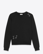 SAINT LAURENT Sportswear Tops U Classic Sweatshirt in Black French Terrycloth and Clear Crystal f