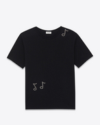 SAINT LAURENT T-Shirt and Jersey U Classic Short Sleeve Musical Note T-Shirt in Black Cotton Jersey and Clear Crystal f
