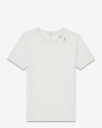 SAINT LAURENT T-Shirt and Jersey U surf short sleeve t-shirt in ivory and black sl musical notes printed cotton jersey f