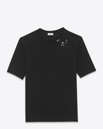 SAINT LAURENT T-Shirt and Jersey U SURF Short Sleeve T-shirt in Black and Ivory SL Musical Notes Printed Cotton Jersey f