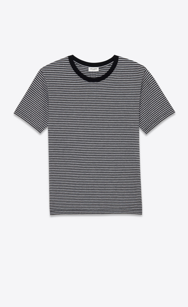 SAINT LAURENT T-Shirt and Jersey U PUNK ROCK Short Sleeve T-Shirt in Black and Heather Grey Pasadena Striped Cotton Jersey a_V4