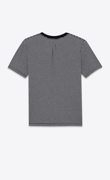 SAINT LAURENT T-Shirt and Jersey U PUNK ROCK Short Sleeve T-Shirt in Black and Heather Grey Pasadena Striped Cotton Jersey b_V4
