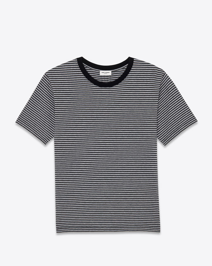 Saint laurent punk rock short sleeve t shirt in black and for Grey striped t shirt