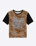 SAINT LAURENT T-Shirt and Jersey U PUNK ROCK Short Sleeve T-Shirt in Black and Tan Leopard Printed Cotton Jersey f