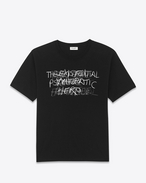 "SAINT LAURENT T-Shirt e Jersey U T-shirt Special Projects PUNK ROCK ""HERMETIC PSYCHEDELIC EXISTENCE"" nera e grigia in jersey di cotone degradé. f"
