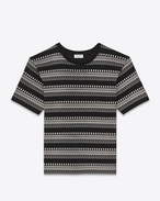 SAINT LAURENT T-Shirt and Jersey U PUNK ROCK Short Sleeve T-Shirt in Black and Ivory Skeleton Printed Cotton Jersey f