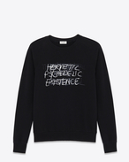 "SAINT LAURENT Sportswear Tops U Special Projects PUNK ROCK ""HERMETIC PSYCHEDELIC EXISTENCE"" Sweatshirt in Black and Grey Degrade French Terrycloth f"