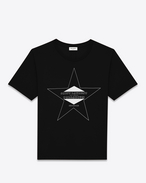 SAINT LAURENT T-Shirt and Jersey U PALLADIUM T-shirt in Black and Ivory Cotton Jersey f