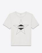 SAINT LAURENT T-Shirt and Jersey U PALLADIUM T-shirt in Ivory and Black Cotton Jersey f