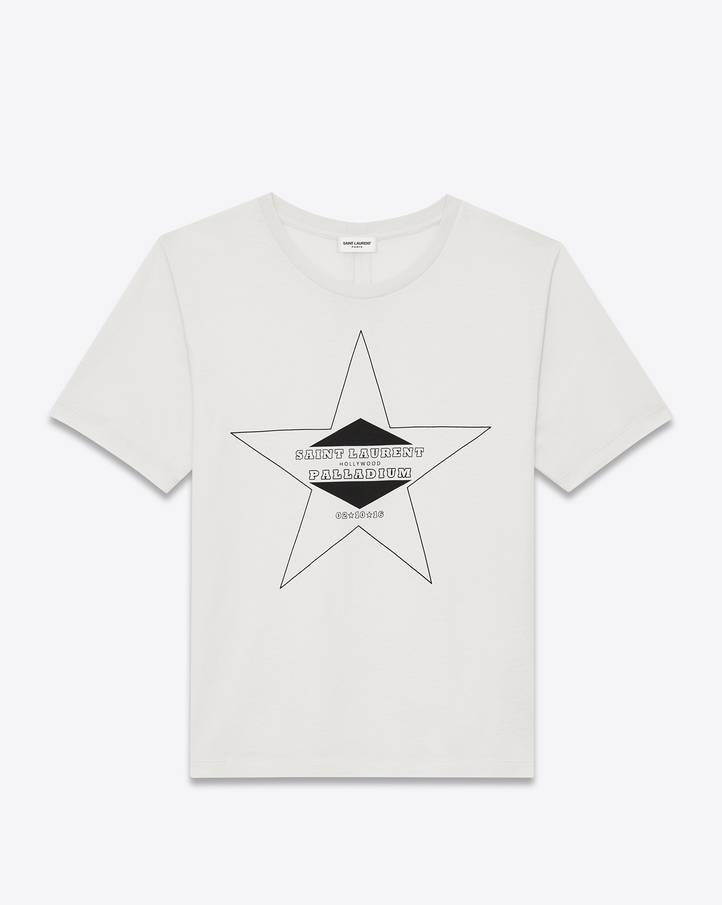 saint laurent palladium t shirt in ivory and black cotton