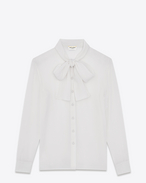 SAINT LAURENT Tops and Blouses D signature lavallière blouse in shell silk georgette f