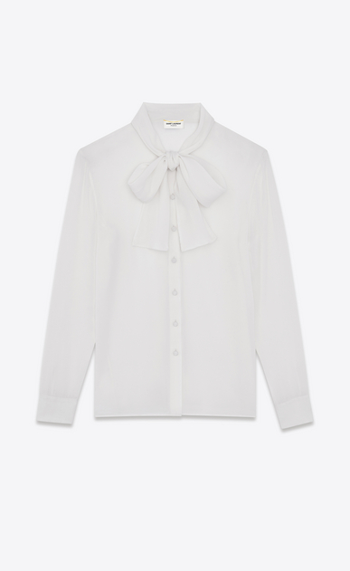 SAINT LAURENT Tops and Blouses D signature lavallière blouse in shell silk georgette v4