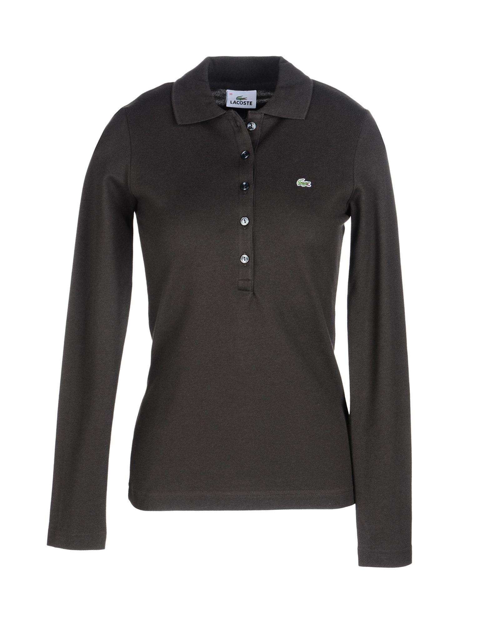 《送料無料》LACOSTE レディース ポロシャツ ダークブラウン 42 コットン 94% / ポリウレタン 6%
